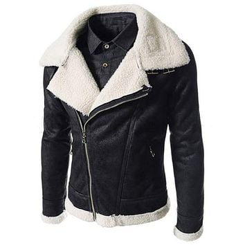 Leather Jackets Fur Overcoats Vintage Men Leather Suede Jacket For Men's Suede Coat