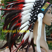 Indian headdress Red and black feather headdress 21 inch full high american costumes indian war bonnet