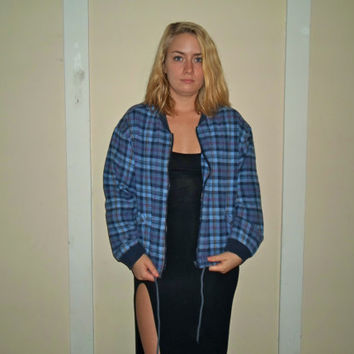90s Zip Up Blue Soft Plaid Jacket Windbreaker Fall Sweatshirt