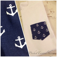 Anchors Pocket Tee, Size: Unisex Adult Small, Medium, Large, Extra Large