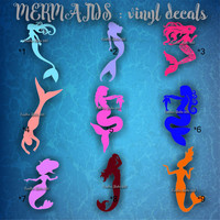 MERMAIDS VINYL DECALS - car window stickers - personalized car decal