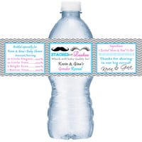 Team Staches or Lashes Gender Reveal Baby Shower Personalized Water Bottle Labels