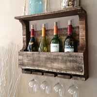 Wine and Glass Holder - Reclaimed Wood - Big Merch