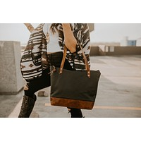 The Mercer Tote Perforated Leather and  Leather