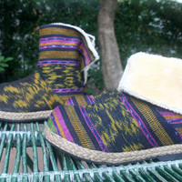 Womens Ankle Boots In Black Javanese Ikat Plush Lining Fold over Cuff House Shoes Slippers - Naya