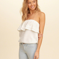 Girls Embroidered Ruffle Tube Top | Girls Tops | HollisterCo.com