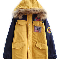 Yellow Contrast Letter Applique Faux Fur Hooded Coat