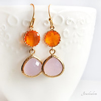Bridal Earrings, Bridesmaids Gift, Personalised Colors, Carnelian Orange, Coral, Blush Pink, Rose Quartz, Birthstone Jewelry, Gold Filled