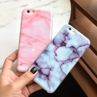 Hot Wine Red Pink Marble Soft Skin Shell  for iPhone 6 6S 6plus 6Splus 7 7plus
