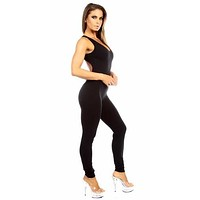 Sexy Shred Stretch Supportive Cut Out Back Work Out Cat Suit - Black