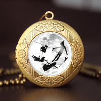 Peter Pan full moon pendant locket necklace,game pendant locket necklace,kid friend gift girlfriend boyfriend gift Bridesmaid Gift