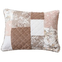 """DaDa Bedding Patchwork Vintage Muted Dusty Rose Mauve Pink & Brown Floral - King Size Pillow Sham 20"""" x 36"""" (JHW866)"""