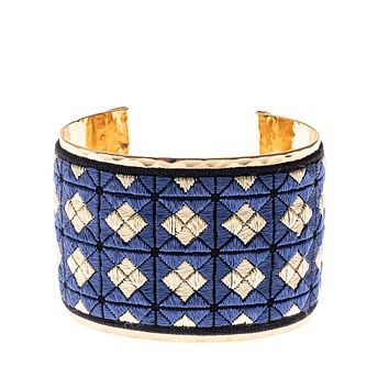 Gold Cuff with Blue & Gold Square Embroidery: One of a Kind