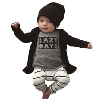 new 2017 fashion Cotton Infant clothing long-sleeved  LAZY DAYS top+pants 2pcs/suit Newborn baby boy girl clothes