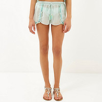Light green Pacha embellished scallop shorts - caftans / cover-ups - swimwear / beachwear - women
