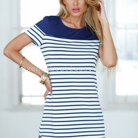 Walk The Line Dress (Navy&White) | Xenia Boutique | Women's fashion for Less - Fast Shipping