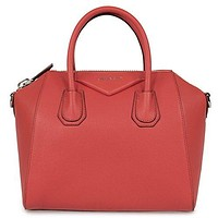 Givenchy Women's Antigona Sugar Goatskin Leather Satchel Bag RED