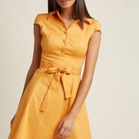 Soda Fountain A-Line Dress in Ginger