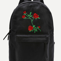 Flower Embroidery Canvas Backpack