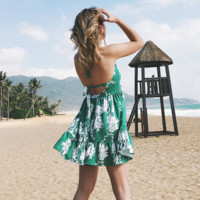 Sexy V-Neck Backless Printed Sleeveless Beach Dress