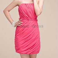 short simple watermelon prom dresses    mini sexy strapless gowns for prom    cheap modern homecoming dress