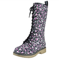 Womens Mid Calf Boots Lace Up Combat Floral Print Casual Shoes black