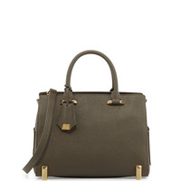 Daphne Barrel Satchel Bag, Mushroom