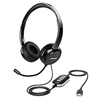 Mpow 071 USB Headset/ 3.5mm Computer Headset with Microphone Noise Cancelling, Lightweight PC Headset Wired Headphones, Business Headset for Skype, Webinar, Cell Phone, Call Center Black