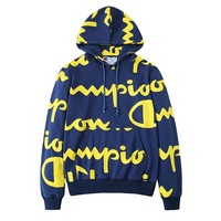 Champion new high street cursive full logo logo hooded sweater #4