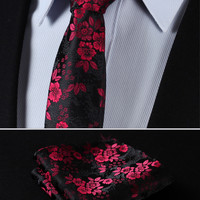 "TF2005R17 Red Black skinny floral 2.75"" 100%Silk Woven Slim Skinny Narrow Men Tie Necktie Handkerchief Pocket Square Suit Set"