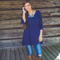 Cut-Out Tunic in Navy