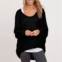 Women Knit Loose Long Sleeve Round Necked T-Shirt _ 12561