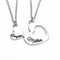 Mother Daughter Best Friends Heart Pendant Necklace