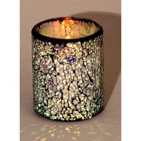 """LED Mosaic Flameless Candle, Cracked Glass Pattern, 3""""D x 4""""H"""