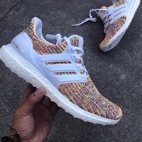 Adidas Ultra Boost Women MEN Running Breathable Sneakers  White/Rainbow