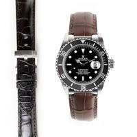 Steel End Link Alligator Embossed Strap for Rolex Submariner Ceramic with Tang Buckle