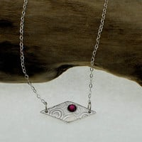 OOAK Fine Silver Pendant with 4mm Garnet  - Ready To Ship