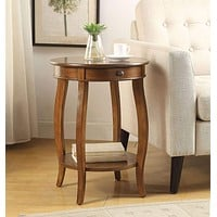 1 Drawer Round Shape Wooden End Table with Cabriole Legs, Walnut Brown