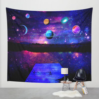space wall tapestry/moon wall tapestry/planets wall tapestry/galaxies wall tapestry/purple wall tapestry/fantasy wall tapestry/landscape