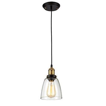 Edison Simple Glass Pendant Light Fixture - Bulb Included, Clear/Antique Brass