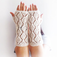 Free Shipping, Diamond Line Fingerless Gloves, Black and White Knitted Arm Warmers
