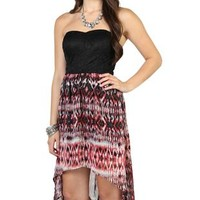 Strapless High Low Dress with Tribal Print Skirt and Lace Bow Back