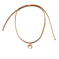 Charmed Crescent Choker - Brown