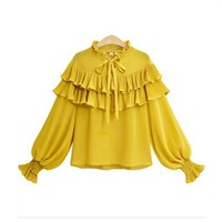 Chiffon Blouse Women Long Sleeve Fashion Vintage Ruffles V-neck Loose Chiffon Shirts Plus Size XL-5XL Lantern Sleeve Women Tops