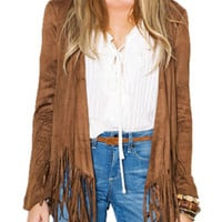 Brown Collarless Open Front Long Sleeve Tassel Suedette Coat