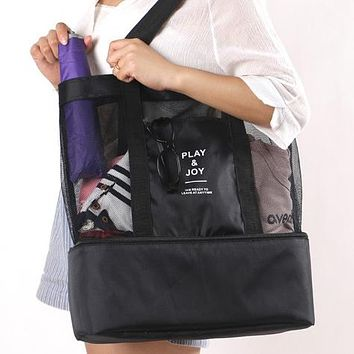 High Capacity Women Mesh Transparent Bag Double-layer Heat Preservation Large Picnic Beach Bags Tote Office Lunch Snacks Bag