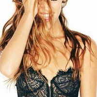 For Love & Lemons SKIVVIES Foxy Strapless Bustier in Black