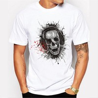 New Arrivals  Men's Funny Music Skull Head Printed T Shirt Cool Summer Tops High Quality Casual Tee