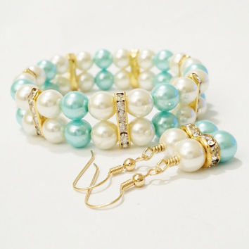 Bridal Shower Favor | Turquoise and ivory bracelet | Bridesmaid Gift | Mother of the Bride Gift