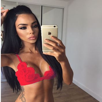 Interest is hollow-out lace strapless lingerie Red